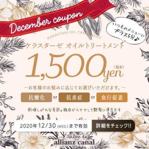 【12月限定メニュー】オイルトリートメント ¥1,500(税別) イメージ
