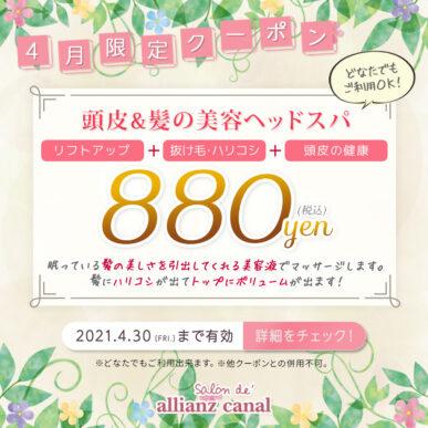 【4月限定クーポン】頭皮&髪の美容ヘッドスパ ¥880(税込) イメージ