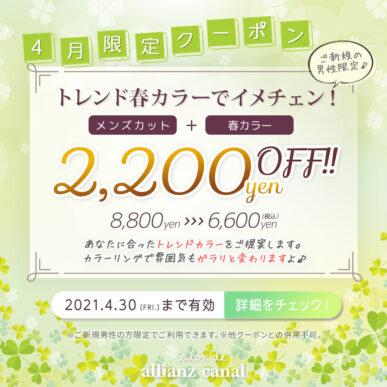 【4月メンズ限定クーポン】トレンド春カラーでイメチェン!カット+メンズカラー 通常¥8,800円→¥6,600円(税込) イメージ