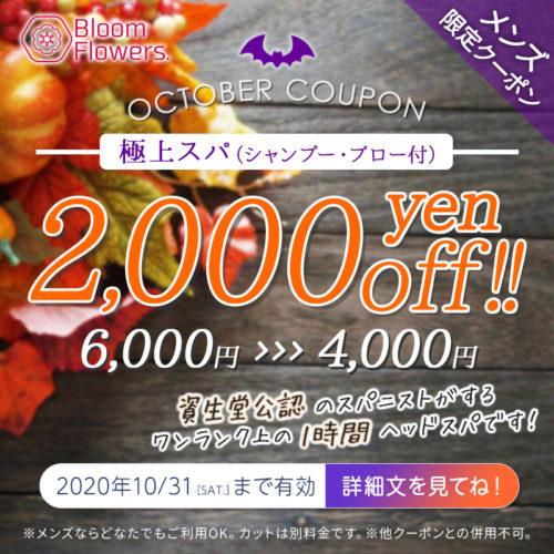 【10月限定メンズクーポン】極上スパ(シャンプー・ブロー付)通常価格¥6,000→¥4,000(税別) イメージ