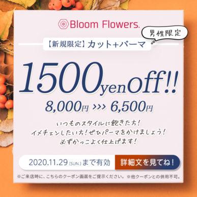 【11月限定メンズクーポン】カット+メンズパーマ 通常価格8,000円→6,500円(税別) イメージ