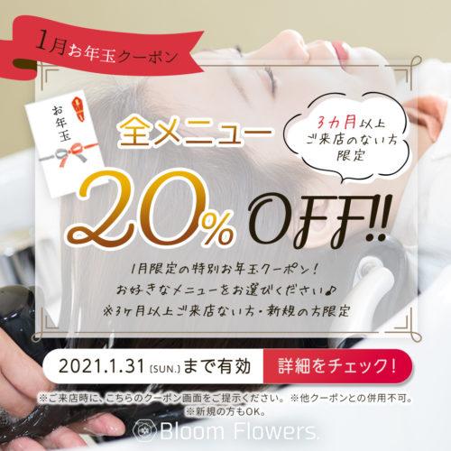 【1月限定お年玉クーポン】全メニュー 20%OFF ※3カ月以上ご来店のない方限定 イメージ