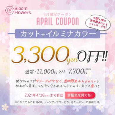 【4月限定クーポン】カット+イルミナカラー 通常¥11,000→¥7,700(税込) イメージ