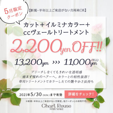 【5月限定クーポン】カット+イルミナカラー+ccヴェールトリートメント 通常¥13,200→¥11,000(税込) イメージ