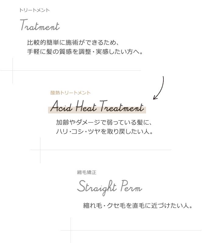 通常のトリートメント・縮毛矯正と、美髪改善酸熱トリートメントの比較