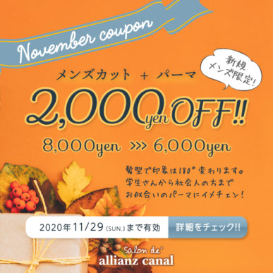【11月メンズ限定クーポン】メンズカット+パーマ 通常¥8,000→¥6,000(税抜) イメージ