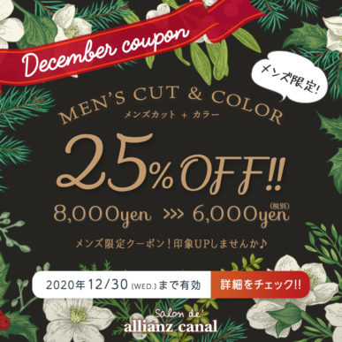 【12月メンズ限定クーポン】カット+メンズカラー 通常¥8,000→¥6,000(税別) イメージ