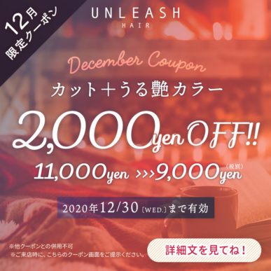 【12月限定クーポン】カット+うる艶カラー 通常価格¥11,000→¥9,000(税別) イメージ